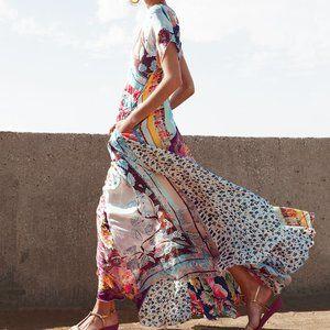 NWT Johnny Was Georgette Silk Print Maxi Dress
